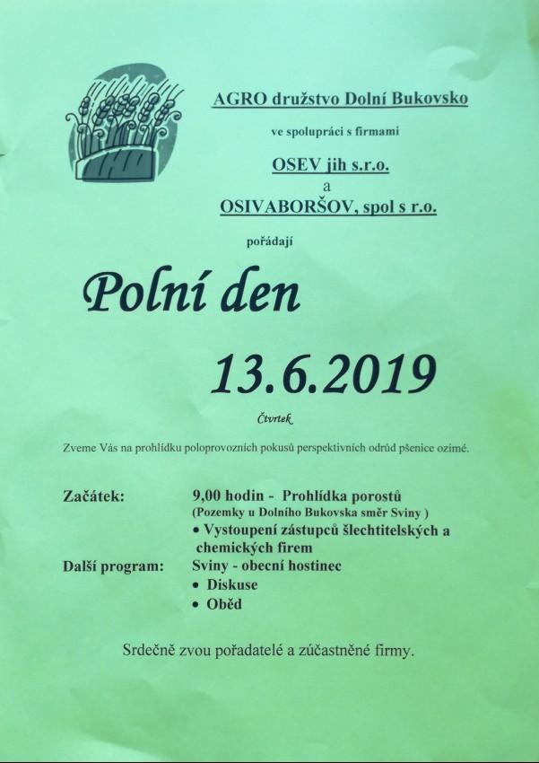 Polní den Dolní Bukovsko