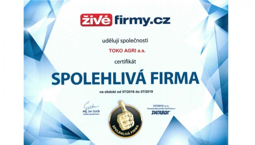 TOKO AGRI a.s. - spolehlivá firma 2018/2019